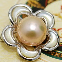 Brightness metallic in a 14mm freshwater pearl broach pendant being extra-large! The rich color that nature produced♪