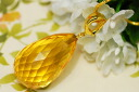 The good-quality extra-large honey gold which glitters in キラッキラ for the translucency that the large drop of citrine pendant top is clear! It is easy to use it by clicker metal fittings♪