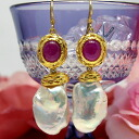 It is gorgeous with one point of item on display limit extra-large baroque freshwater pearl & ruby pierced earrings てらてら metallic pearl and large drop of cabochon ruby!