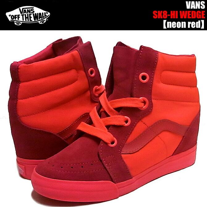 vans footwear the sk8-hi wedge sneaker in neon red