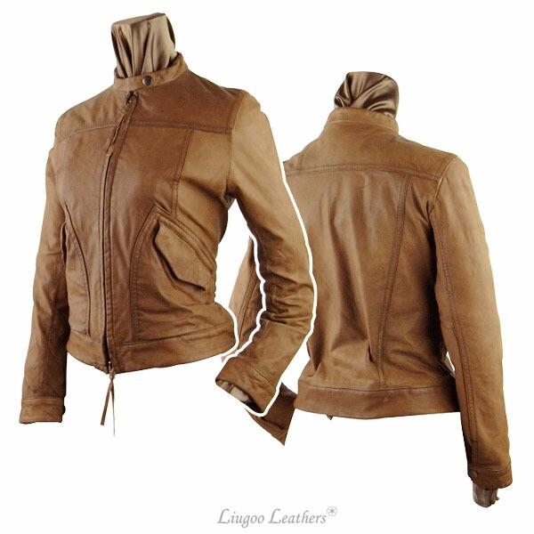 女子单一莱伊德的茄克《棕色》皮夹克摩托车服装