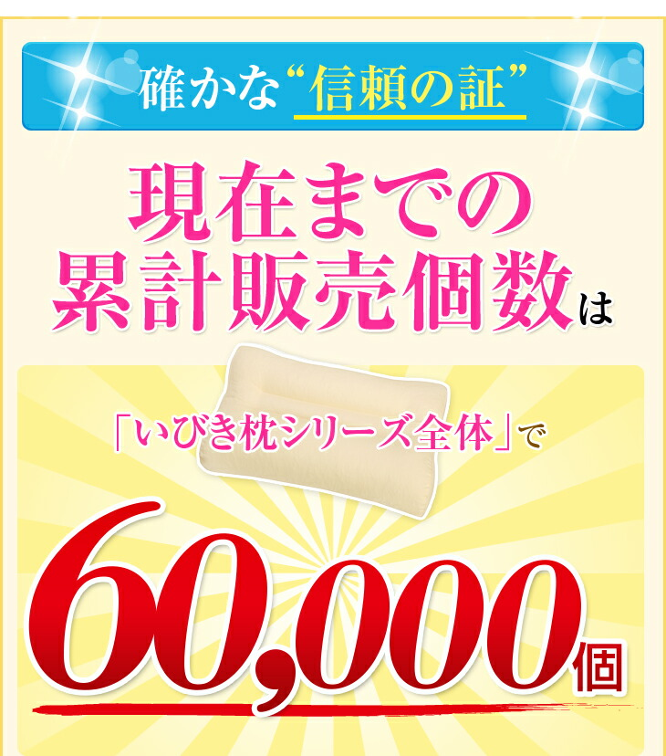 """確かな""""信頼の証"""" いびき枕シリーズ全体で累計販売個数約60000個"""