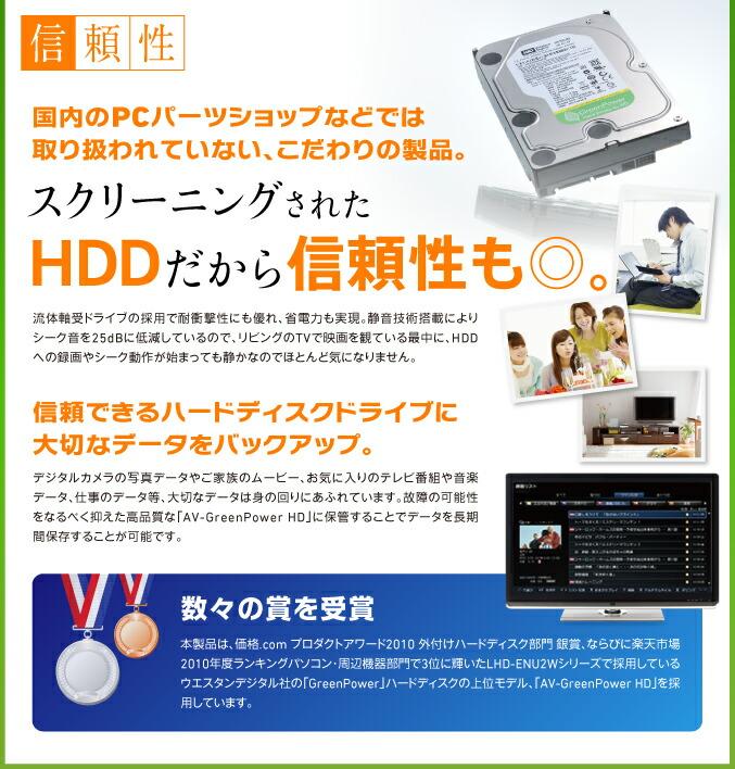 スクリーニングされたHDDだから信頼性も◎。