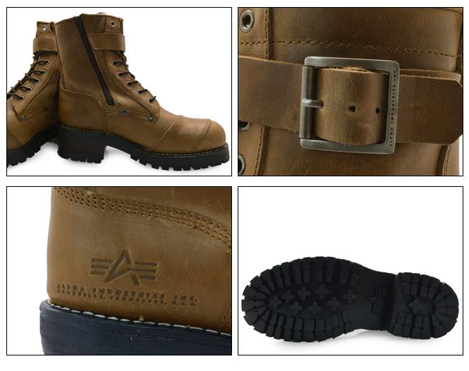ALPHA(アルファ)本革バイカーズブーツ。シフトパッドが付いたバイカーブーツ詳細画像