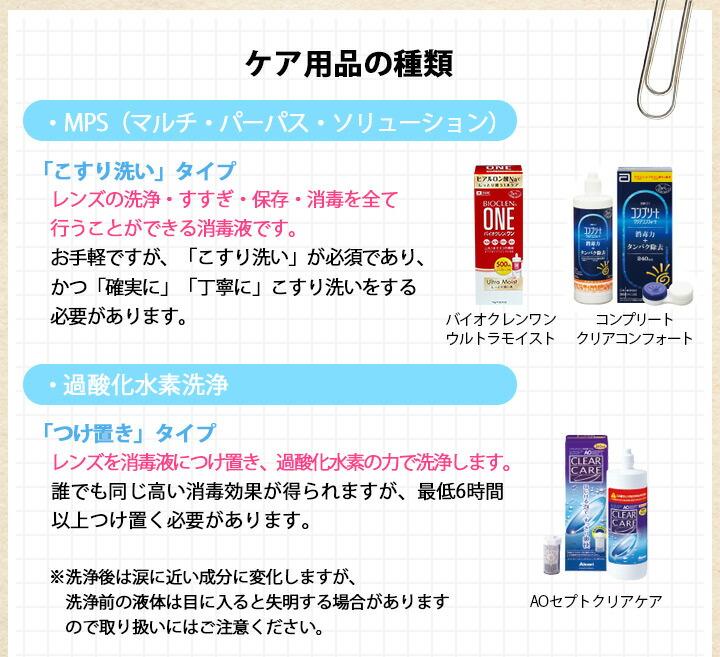 ケア用品の種類・MPS(マルチ・パーパス・ソリューション)「こすり洗い」タイプレンズの洗浄・すすぎ・保存・消毒を全て行うことができる消毒液です。お手軽ですが、「こすり洗い」が必須であり、かつ「確実に」「丁寧に」こすり洗いをする必要があります。・過酸化水素洗浄「つけ置き」タイプレンズを消毒液につけ置き、過酸化水素の力で洗浄します。誰でも同じ高い消毒効果が得られますが、最低6時間以上つけ置く必要があります。※洗浄後は涙に近い成分に変化しますが、洗浄前の液体は目に入ると失明する場合がありますので取り扱いにはご注意ください。