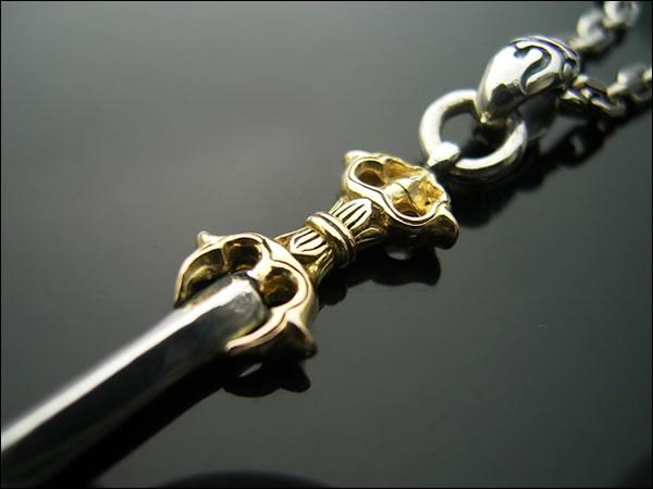 降魔の三鈷剣ペンダントトップ・18金イエローゴールド&スターリングシルバー
