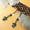 ★ antique-green quartz ★ earrings & earrings natural stone & accessories & birth stone April-talisman & charm