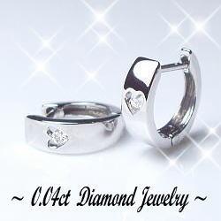K18[ホワイト/ピンク/イエロー]ゴールド製ダイヤモンド 中折れフープピアス