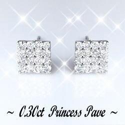 K18ホワイトゴールド×天然ダイヤモンド『パヴェセッティング』スクエアピアス