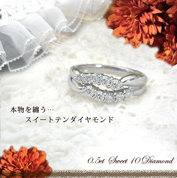 K18 0.5ctテンダイヤモンドリング
