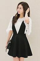 【9/2入荷】Queenサイズ☆2点セット フラワーレーストップス×サロペットスカート