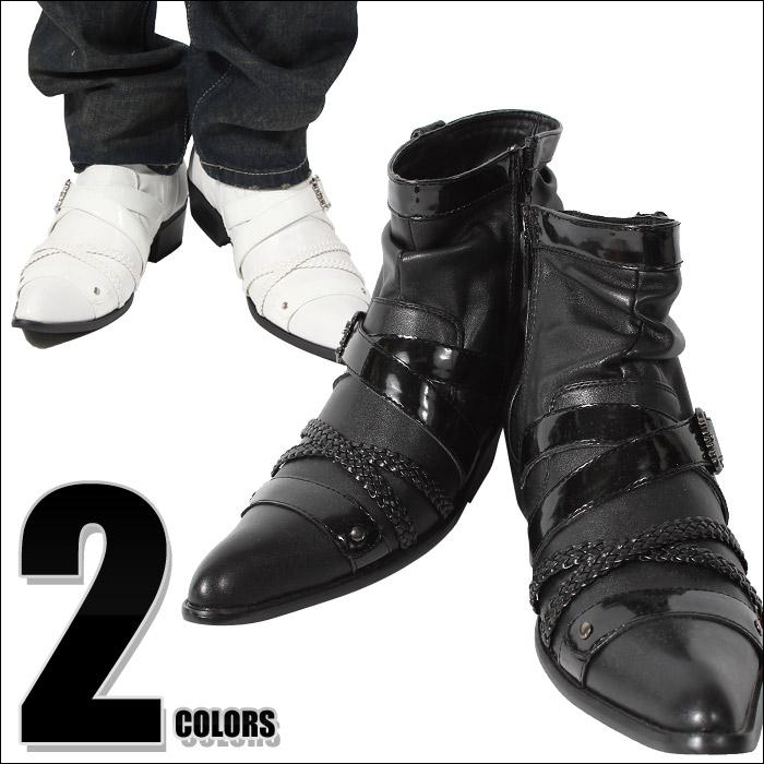 お兄系 BOREDOM ボアダム 編み込み エナメル クロス ベルト ショートブーツ ブーツ メンズ メンズブーツ 靴 紳士