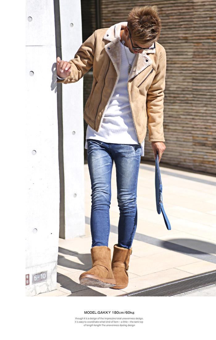 BITTER ビター系 ムートンブーツ メンズ 靴 ブーツ ムートン エンジニアブーツ ショートブーツ ボア ファー シューズ スウェード フェイク カモフラ 迷彩 カモ柄 デニム お兄系 ファッション 3
