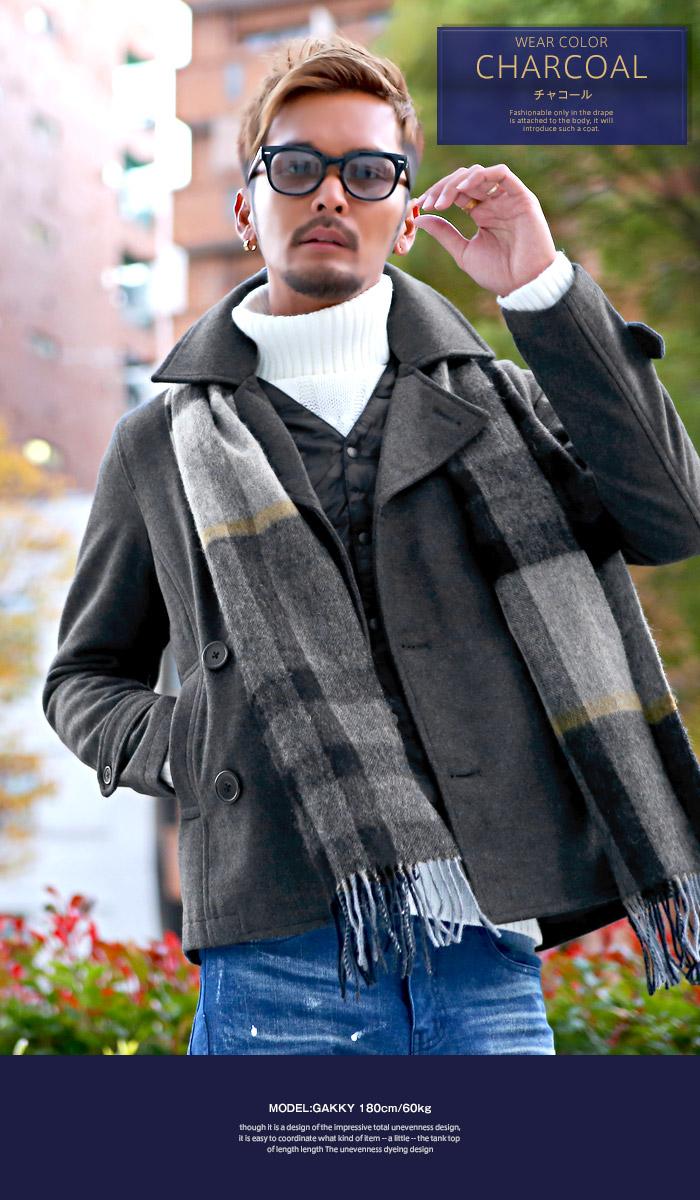 ピーコート Pコート メンズ ジャケット コート ウール ショート丈 冬 BITTER ビター系 ウールコート アウター 毛 丈 無地 ウインドペン チェック 柄 細身 4