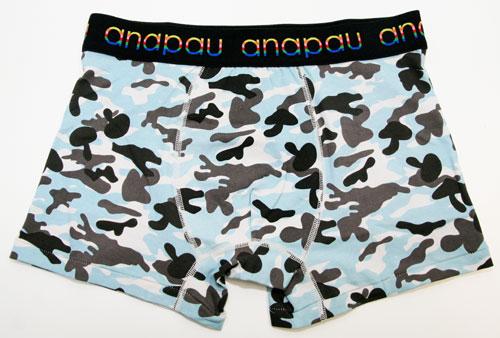 anapauアナパウ/キノコ迷彩ーGRY(グレー×ブルー) ボクサーパンツ