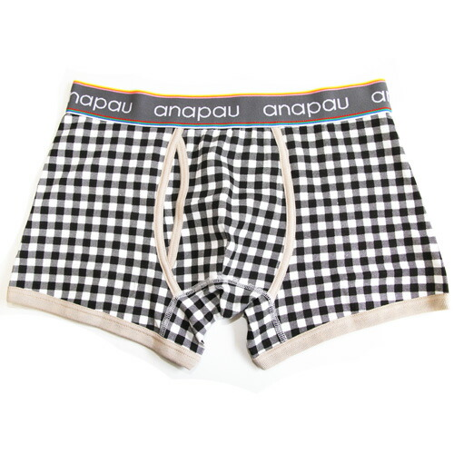 anapauアナパウ/ギンガムチェック(ブラック) ボクサーパンツ