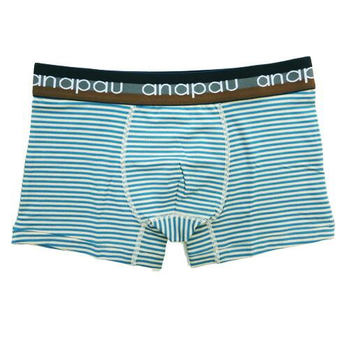 anapauアナパウ/レーヨンボーダー エメラルド×ベージュ ボクサーパンツ
