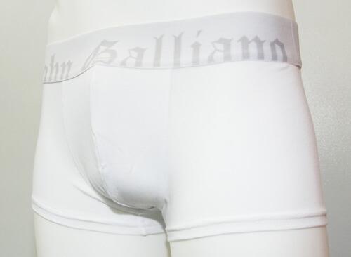 John Galliano/ウエストゴムロゴ ローライズボクサーパンツ(ホワイト)ジョンガリアーノ