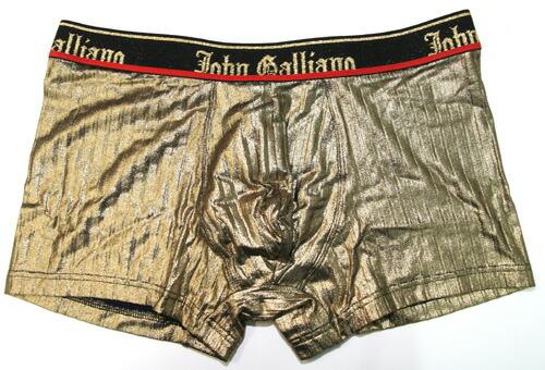 John Galliano ジョンガリアーノ/【限定コレクションライン】光沢織込ゴールド ラグジュアリーボクサーパンツ(ゴールド)