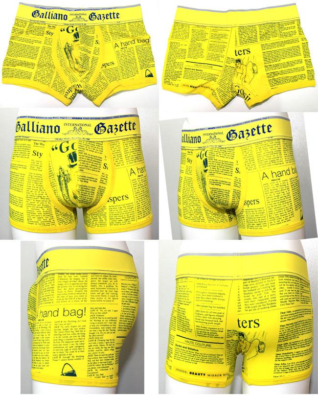John Galliano ジョンガリアーノ/【限定コレクションライン】NEWSPAPER ニュースペーパー(イエロー)ボクサーパンツ