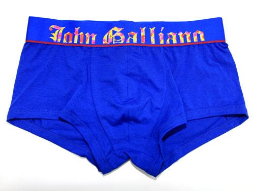 John Galliano/ウエストゴムデザインロゴ ローライズボクサーパンツ(ブルー)ジョンガリアーノ