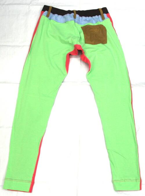 OVER THE TWELVE/40ベア天竺 ポケット付き レギンス (ピンク×ライムグリーン) オーバーザトゥエルブ