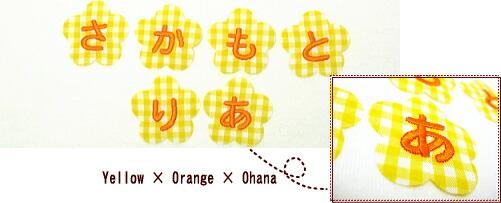 黄チェック×オレンジ×お花