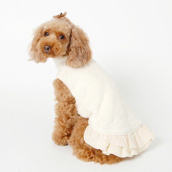 T-shirt (clothes of the dog of the mother) with the boa off the neck skirt