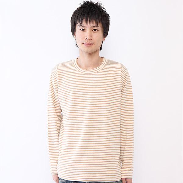 メンズ用オーガニックコットンの長袖Tシャツ