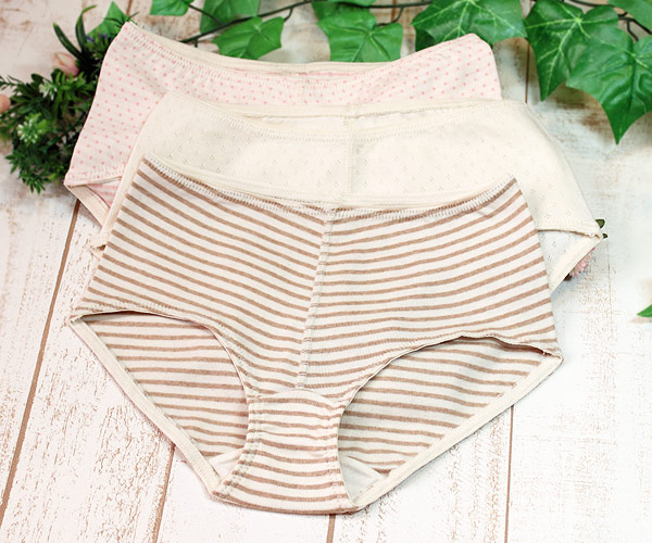 Hip-hugger panties of the organic cotton for Lady's
