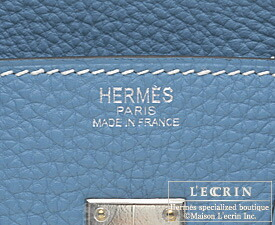 Hermes Birkin bag 25 Blue jean Togo leather Silver hardware