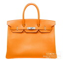 Hermes Birkin bag 35 Orange Epsom leather Silver hardware