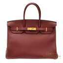 Hermes Birkin bag 35 red Rouge H/Dark Togo leather Gold hardware