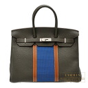Hermes Birkin Club bag 35 Tri-color Vert Bronze/Blue thalassa/Fauve Fjord leather with Ottomane