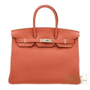 Hermes Birkin bag 35 Rosy/Orange pink Togo leather Silver hardware