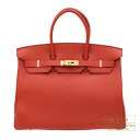 Hermes Birkin bag 35 red Rouge vermillon/Vermilion Togo leather Gold hardware
