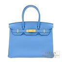 Hermes Birkin bag 30 Blue paradise Togo leather Gold hardware