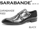 9503 SARABANDE sarabande BLACK real leather business shoes double Monk strap leather shoes semi-long hair noses