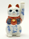 Maneki Neko 4.5, very auspicious decontamination Nishiki Chiku and crane was drawn on the body (left hand )