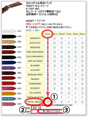【IMAGE 4】ベルト色・サイズ選択画面