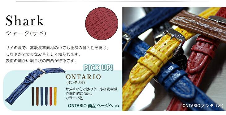 シャーク(サメ皮)交換用時計ベルトONTARIO(オンタリオ)商品ページへ