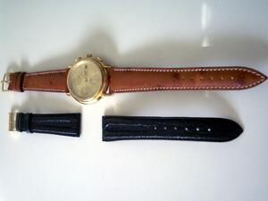 時計ベルトをモレラートのティポロンジンに交換したロンジンクロノグラフオートマチック