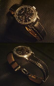 時計ベルトをモレラートのPLUSに交換したEberhard Extra-Fort Chronograph