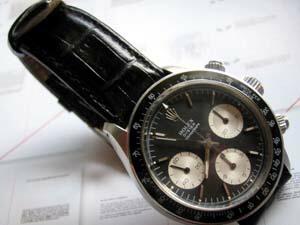 時計ベルトをモレラートのルイジアナに交換したROLEX手巻きデイトナ6263