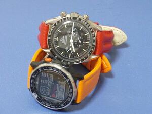 時計ベルトをモレラートのSPEEDとTIPO LOCMANに交換したオメガ スピードマスタープロフェッショナルとシチズン ウインドジャック