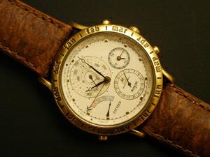 時計ベルトをモレラートのPERCHに交換したシチズン アバロン スーパーカレンダー