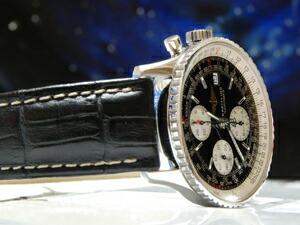 時計ベルトをモレラートのプラスに交換したブライトリング ナビタイマー