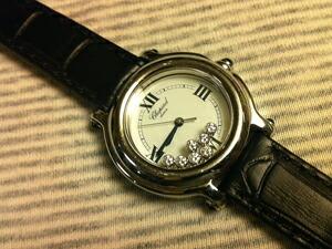 時計ベルトをモレラートのBOLLEに交換したショパール ハッピースポーツ