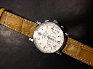 時計ベルトをモレラートのGUTTUSOに交換したEBERHARD CHRONO4 bellissimo