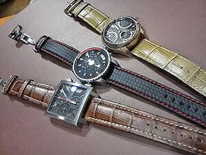 時計ベルトをモレラートのPLUSとBIKINGとGUTTUSOに交換したルイエラール カレ クロノグラフとCKクロノグラフとフルボ